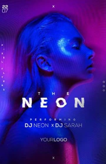 Neon Vibe Nights Free Flyer Template