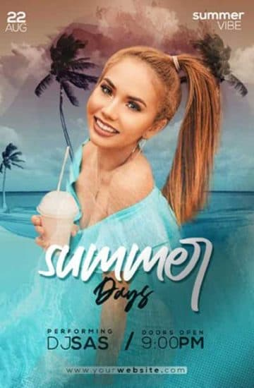 Summer Days Party Free PSD Flyer Template