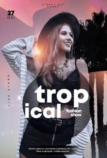 Tropical Summer Fashion Party Free Flyer Template