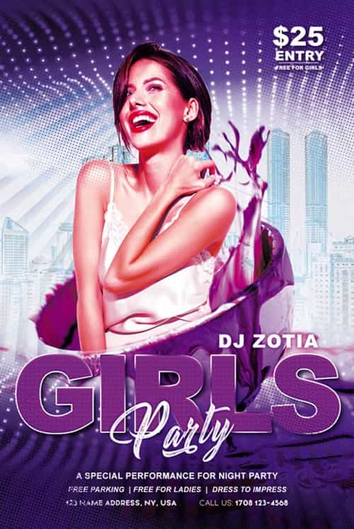 Free Girls Music Party Flyer Template