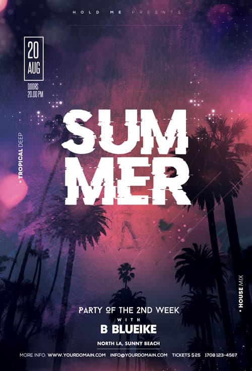 Free Summer Club Party Flyer Template