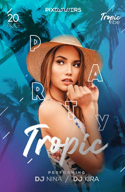 Free Tropic Party Flyer PSD Template