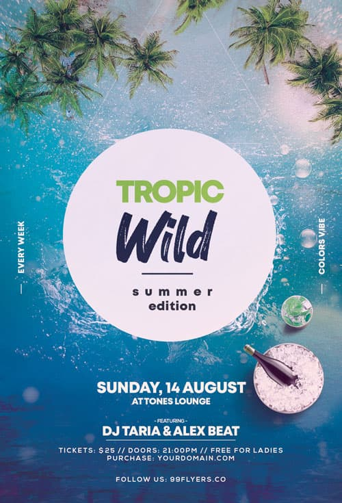 Free Wild Summer Party Flyer Template