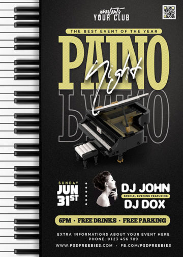 Piano Music Concert Free PSD Flyer Template
