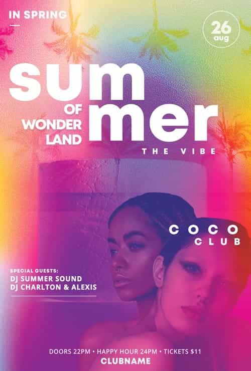 Summer Wonderland Free Club Flyer Template