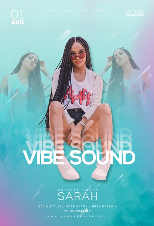 Club Sound Vibes Free Party Flyer Template