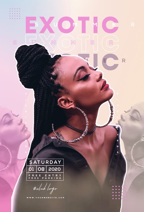 Exotic Summer Party Free Flyer PSD Template