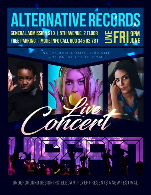Free DJ Live Concert Flyer PSD Template