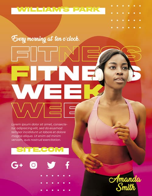 Free Fitness Week Flyer PSD Template