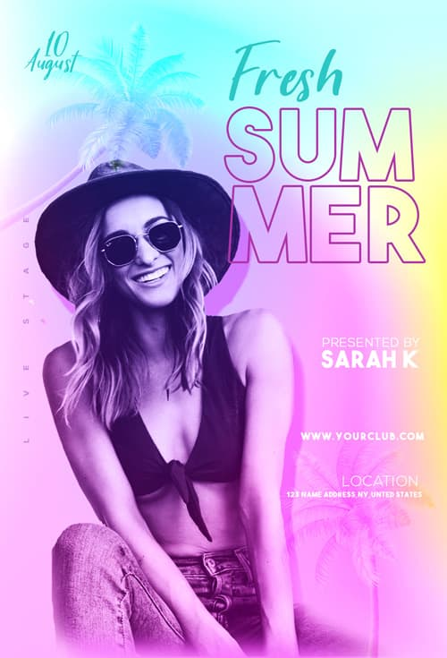 Free Fresh Summer Party Flyer PSD Template