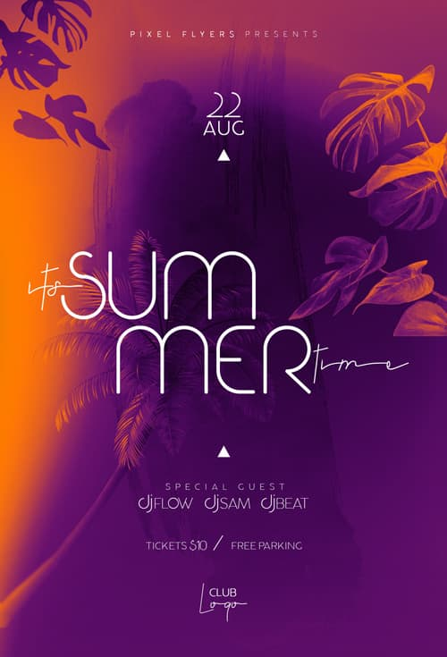 Free Summer Time Party Flyer PSD Template