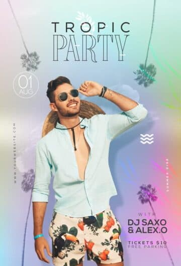 Free Tropic Party Event Flyer PSD Template