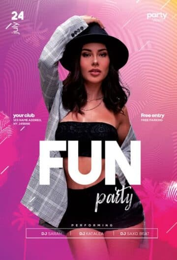 Fun Party Free Club Flyer Template