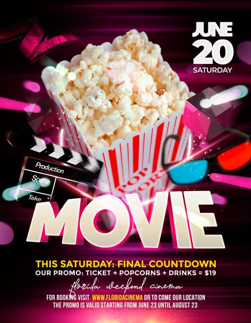 Movie Night Free Flyer PSD Template