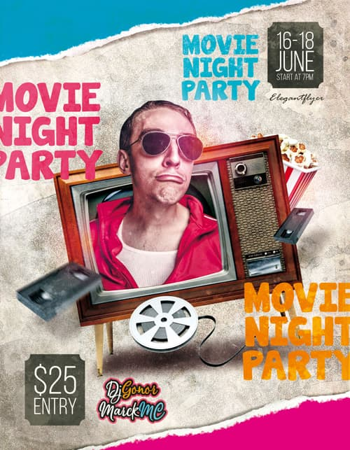 Movie Night Party Free Flyer PSD Template