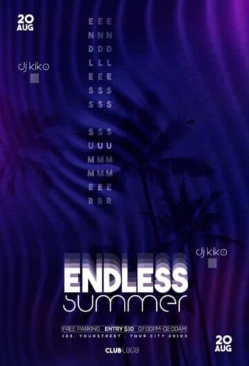 Endless Summer Party Free Flyer PSD Template
