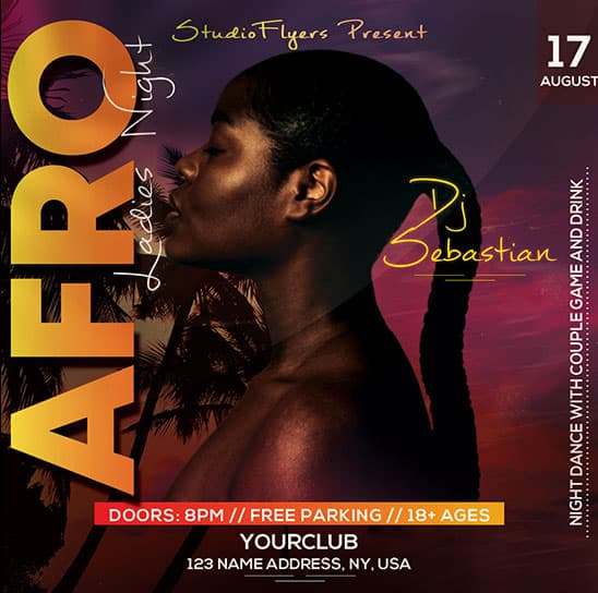 Free Afro Beats Party Flyer Template