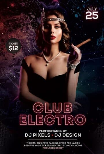 Free Club Electro Party Flyer Template