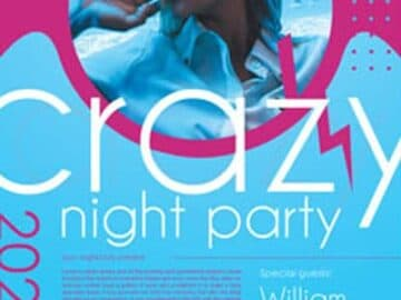 Free Crazy Night Party Flyer PSD Template