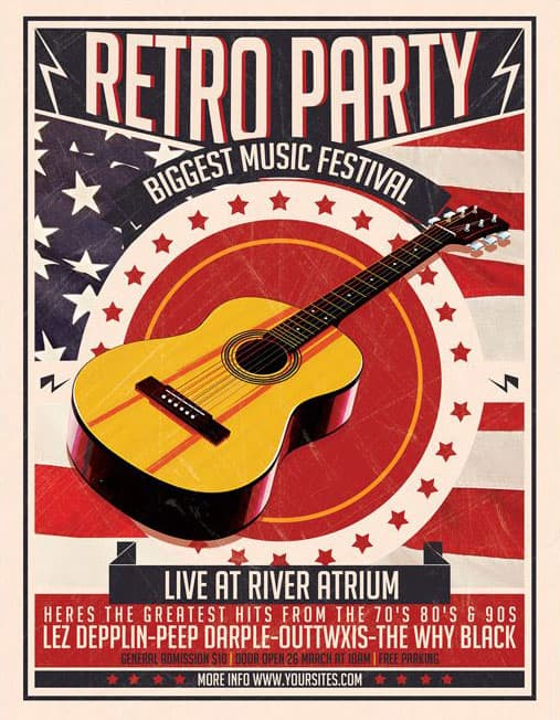 Free Retro Party Event Flyer PSD Template