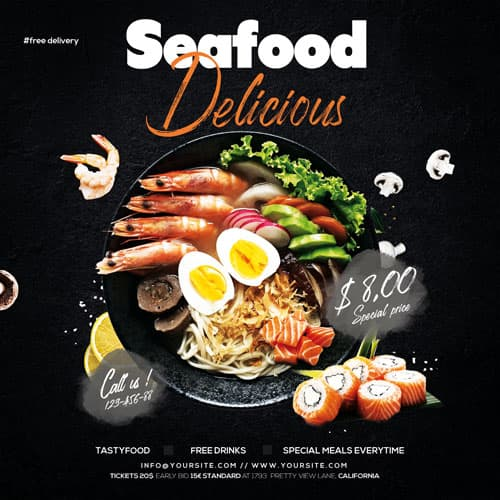 Free Seafood Delivery Service PSD Template
