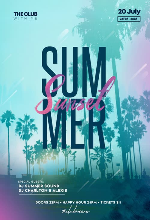 Free Summer Sunset Club Flyer Template
