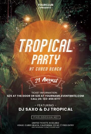 Free Tropical DJ Party Flyer Template
