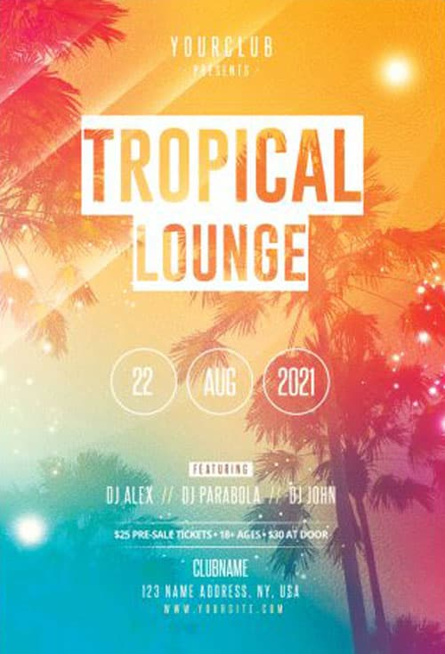Free Tropical Summer Lounge Party Flyer Template