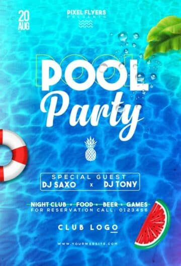 Fresh Pool Party Free Flyer PSD Template