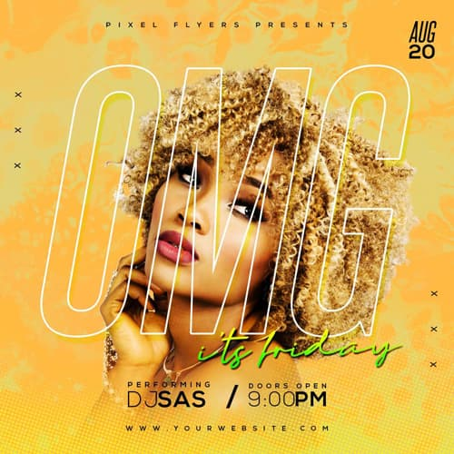 Omg Friday Party Free PSD Insta Template