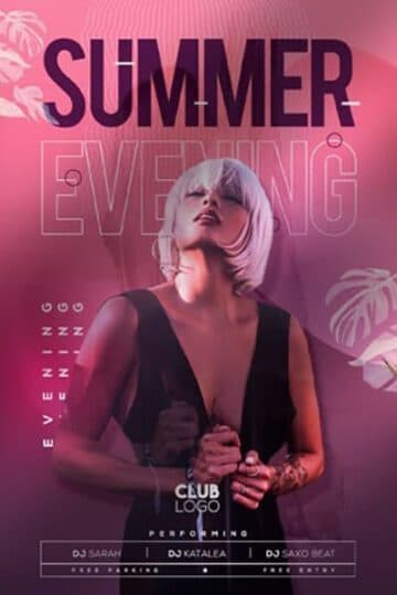 Summer Evening Party Free Flyer Template
