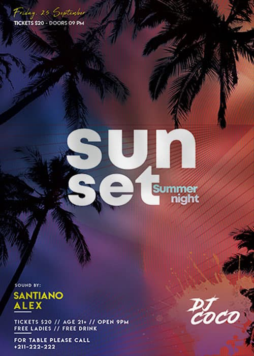 Sunset Summer Night Party Free Flyer Template