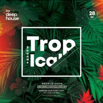 Tropical Summer Free Instagram and Flyer Template