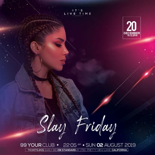 Free Friday Party Instagram PSD Template