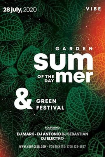 Free Green Summer Day Flyer PSD Template