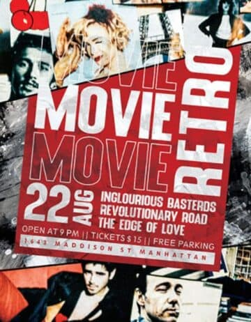 Free Retro Movie Night Flyer Template