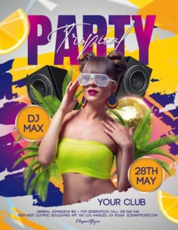 Free Tropical Party PSD Flyer Template