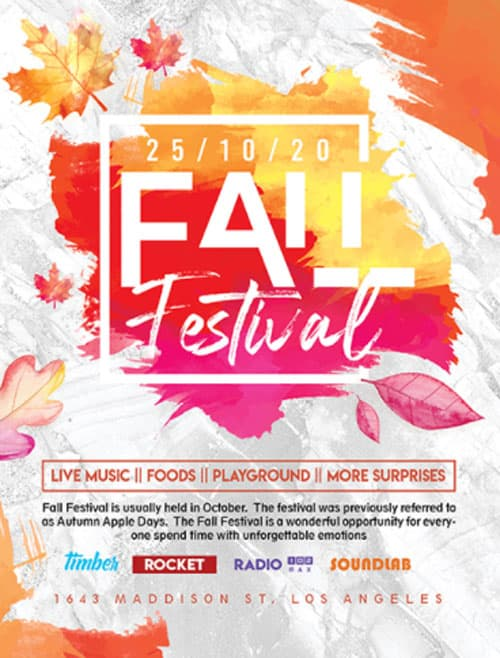 Free Fall Party Flyer Template