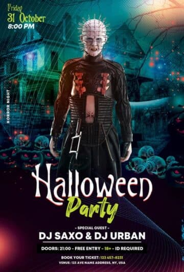 Free Halloween Club Party PSD Flyer Template