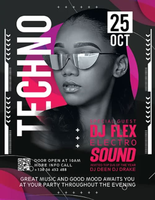 Free Techno Club Party PSD Flyer Template