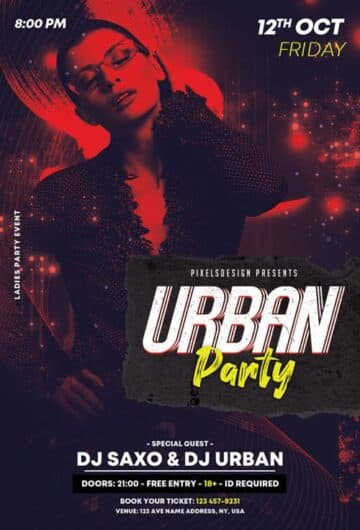 Free Urban Party PSD Flyer Template