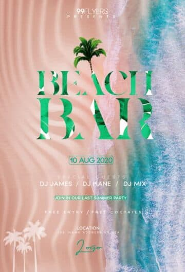 Free Beach Bar PSD Flyer Template