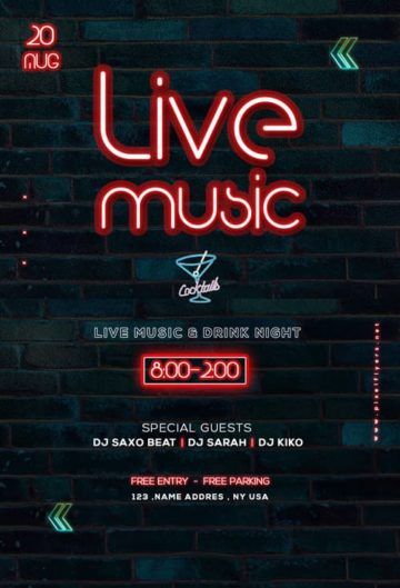 Free Live Music Bar Flyer Template