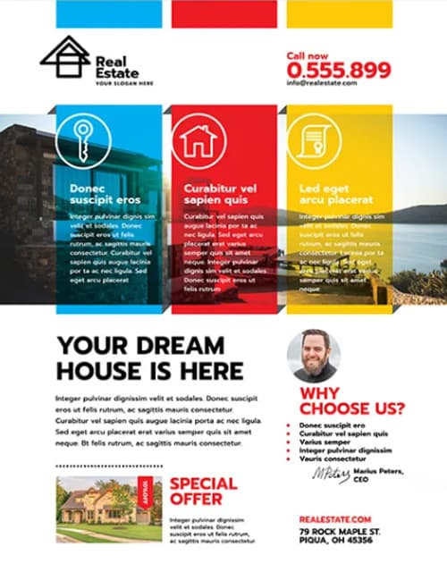 Free Modern Real Estate PSD Flyer Template