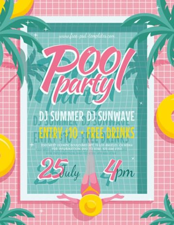 Free Pool Party Flyer Template