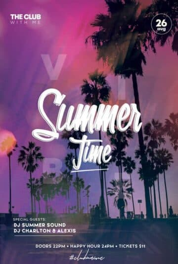 Free Summer Time Party PSD Flyer Template
