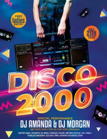 Disco 2000 Free PSD Flyer Template