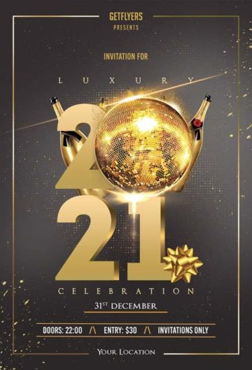 Elegant New Years Eve 2021 Free Flyer Template