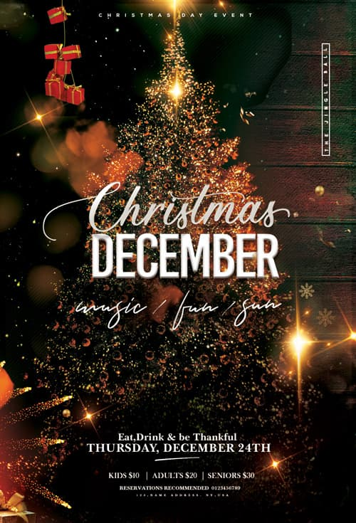 Free Christmas Holiday Event Flyer Template