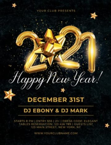 Free New Year 2021 Flyer PSD Template